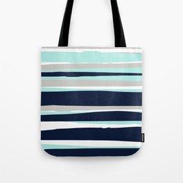 Ocean, Stripe Abstract Pattern, Navy, Aqua, Gray Tote Bag