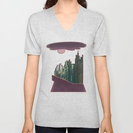 Pink Cloud over the April Super Moon in a City with Green Background Unisex V-Neck