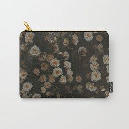 Midnight Dark Floral Grunge Carry-All Pouch
