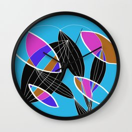 4 colors Organic objects on Blue - White Lines Wall Clock