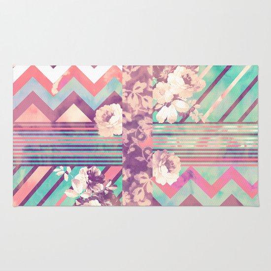Retro Pink Turquoise Floral Stripe Chevron Pattern Rug