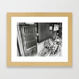 Horie store w/ bikes Framed Art Print