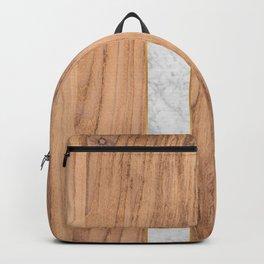 Wood Grain Stripes White Marble #497 Backpack