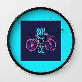 Balance. Hand Drawn Bike Wall Clock