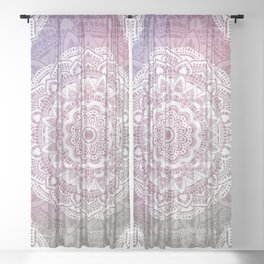 White Antique mandala gradient Sheer Curtain