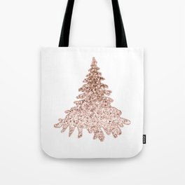 Sparkling christmas tree rose gold ombre Tote Bag