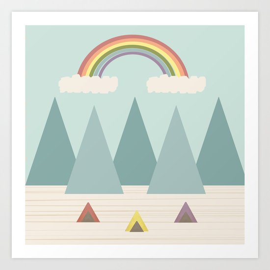 Camping Under the Rainbow Art Print
