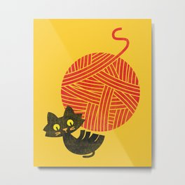 Fitz - Happiness (cat and yarn) Metal Print
