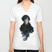 portrait V-neck T-shirts featuring The Excellent Mind by Artgerm™