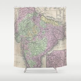 Vintage Map of India (1853) Shower Curtain