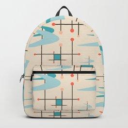 Mid Century Modern Boomerangs, blues on cream Backpack