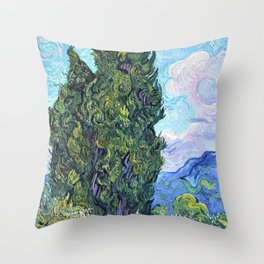 12,000pixel-500dpi - Vincent van Gogh - Cypresses - Digital Remastered Edition Throw Pillow
