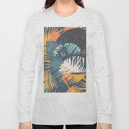 ABSTRACT TROPICAL SUNSET with palm leaves Long Sleeve T-shirt