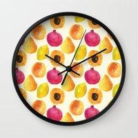 fruits Wall Clocks featuring Fruits by Alexandra Dzh