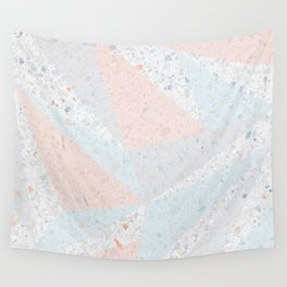 Soft terrazzo pastel with abstract geometric triangles Wall Tapestry