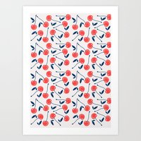 cherry Art Prints featuring Cherry  by Babiole Design