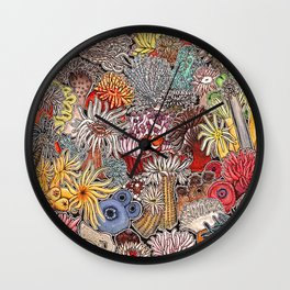 Clown fish and Sea anemones Wall Clock
