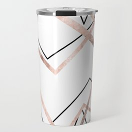 Rose Gold White Linear Triangle Abstract Pattern Travel Mug