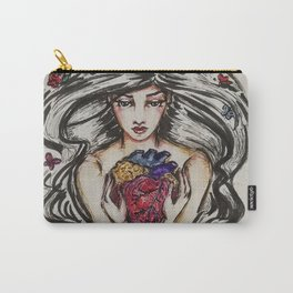 be still my beating heart anitomical love valentine tattoo brunette Carry-All Pouch