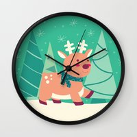 reindeer Wall Clocks featuring Reindeer by Claire Lordon
