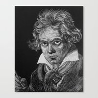beethoven Canvas Prints featuring Beethoven by Sean Villegas