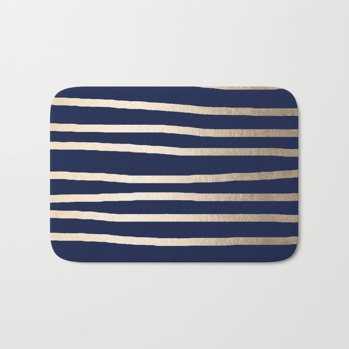 Drawn Stripes White Gold Sands on Nautical Navy Blue Bath Mat