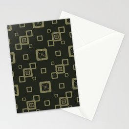 Abstract pattern.Light green squares on a dark green background. Stationery Cards
