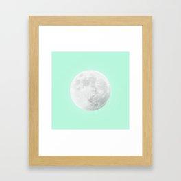 WHITE MOON + TEAL SKY Framed Art Print