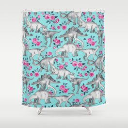 Dinosaurs and Roses - turquoise blue Shower Curtain