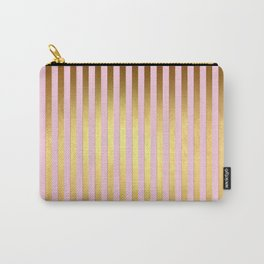 Striped- Pink and gold luxury stripes design Carry-All Pouch
