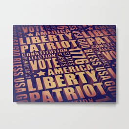 Patriotic Typography Metal Print