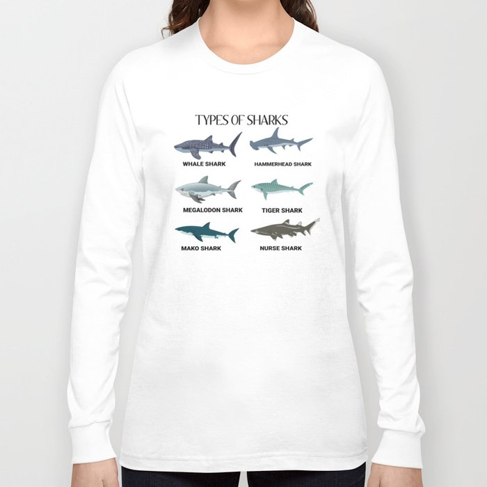 Types of sharks! Long Sleeve T-shirt by eliasgarbe