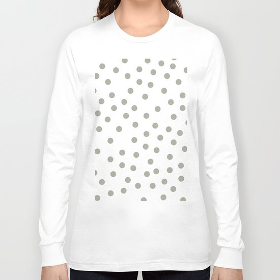 Simply Dots in Retro Gray on White Long Sleeve T-shirt
