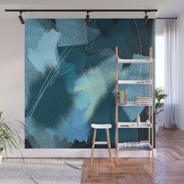 Midnight Blossom: an abstract, mixed media piece in dark and light blue / greens by Alyssa Hamilton Wall Mural
