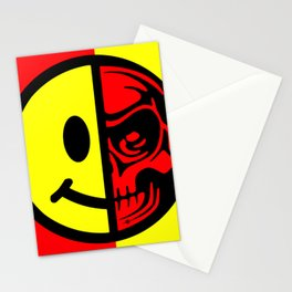 Smiley Face Skull Yellow Red Border Stationery Cards