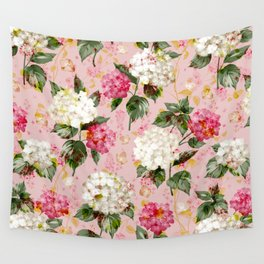 Vintage green pink white bohemian hortensia flowers Wall Tapestry