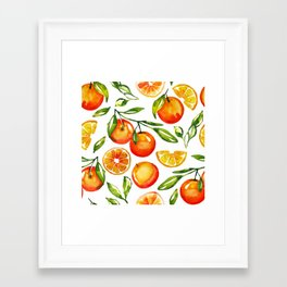 oranges watercolor tangerine fruit print Framed Art Print