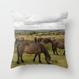 Exmoor Ponies at Winsford Hill  Throw Pillow