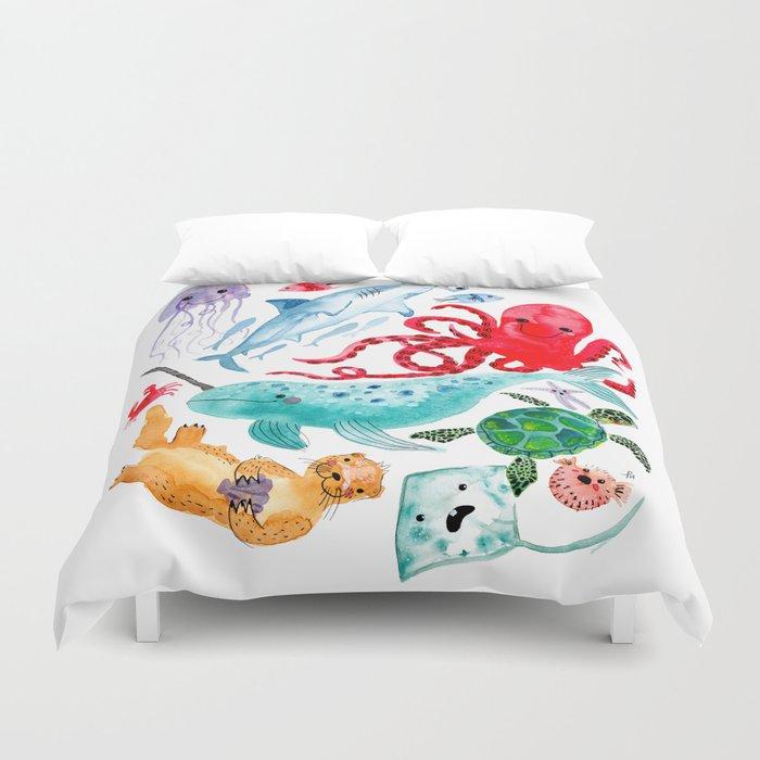 Ocean Creatures - Sea Animals Characters - Watercolor Duvet Cover