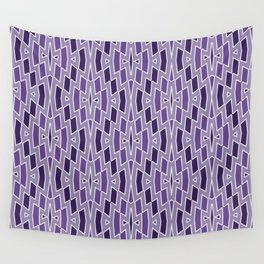 Fragmented Diamond Pattern in Violet Wall Tapestry