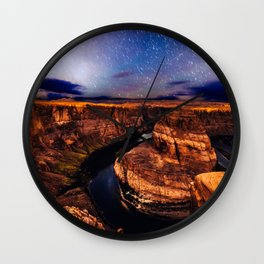 Horseshoe Bend Starseeds - Starry Sky Night at Grand Canyon Arizona Wall Clock