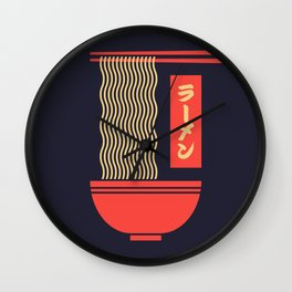 Ramen Japanese Food Noodle Bowl Chopsticks - Black Wall Clock
