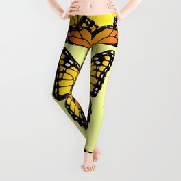 ORIGINAL DESIGN  ABSTRACT OF YELLOW & ORANGE MONARCH BUTTERFLIES BROWN ART Leggings
