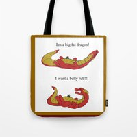 smaug Tote Bags featuring Whiny Smaug by Rshido