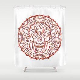 Fire Skull Mandala Shower Curtain