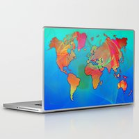 map of the world Laptop & iPad Skins featuring World Map by Roger Wedegis