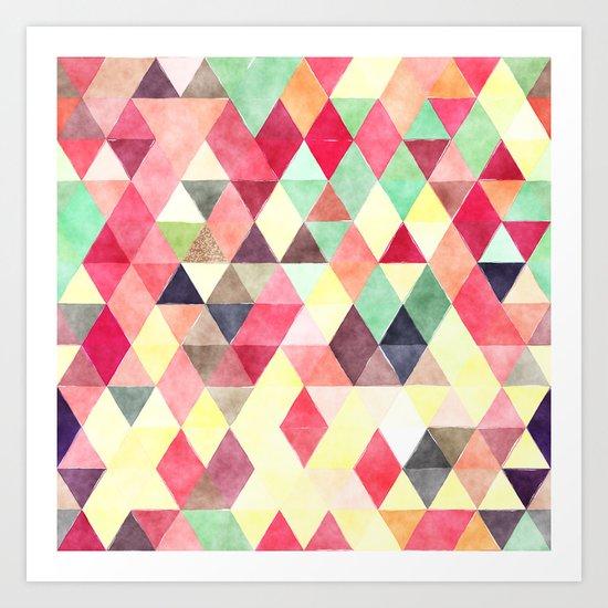 Retro Triangles Pattern 02 Art Print
