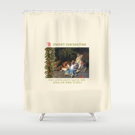 CHRISTMAS GREETINGS for Naughty Cats Shower Curtain