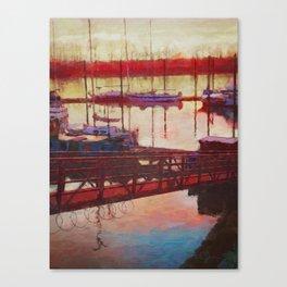 Wilamette River Marina Sunrise Canvas Print