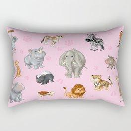 African Animals-Kids Pink background Rectangular Pillow